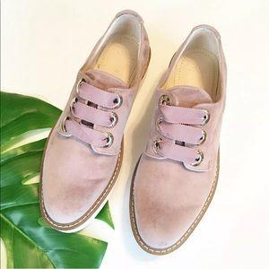 Zara Velvet Platform Brogues Oxford Shoes Pink
